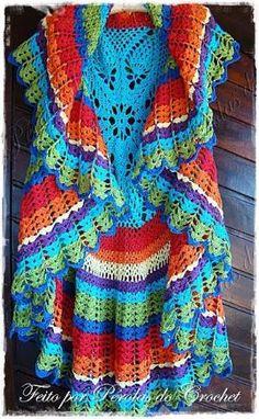 Maxi Colete em Crochet COM PAP - Patrocínio Coats Corrente - * Pérolas do Crochet by Divonsir Borges