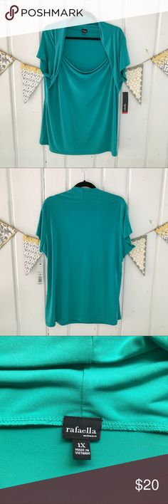 Rafaella Turquoise Drape Front Stretch Top Beautiful turquoise drape front top. Brand new with tags. Does have some markings around the neckline (see last 3 pics). Looks like imprints from hangers pressing on it, and my guess is that they will come out when washed.  Polyester and Spandex Rafaella Tops