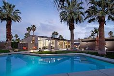 Palm Springs house rental - Evenings are special with the gas fire pit and glowing pool