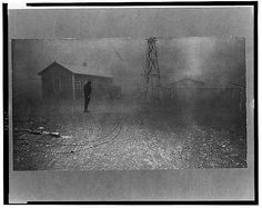 Dust storm. It was conditions of this sort which forced many farmers to abandon the area. Spring 1935. New Mexico