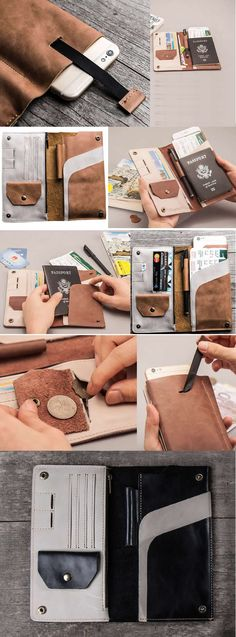 Leather iPhone Smart Phone Wallet Documents Organizer Zipper Case Built-in Pen Pencil Holder Credit Card Holder Passport Holder Bag
