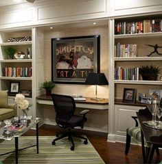 Built in cabinets and desk inspirations for home office 19 Office Cabinet Design, Home Office Cabinets, Office Interior Design, Office Interiors, Interior Ideas, Living Room Built Ins, Desk In Living Room, Built In Desk, Built In Cabinets