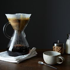 Become a Coffee Connoisseur: Glass Handled Chemex Brewer & Filters: http://food52.com/provisions/products/309-glass-handled-chemex-brewer-with-100-chemex-filters