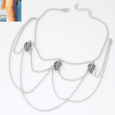 Silver Colored Chain For Arm With Charms Attached