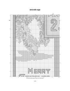 free Christmas cross stitch pattern vintage greeting card birds