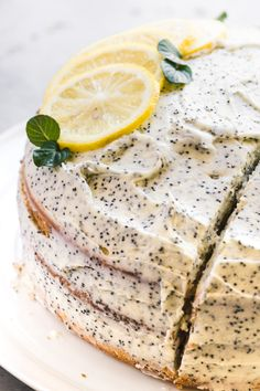 Lemon Layer Cake with Lemon Poppy Seed Buttercream