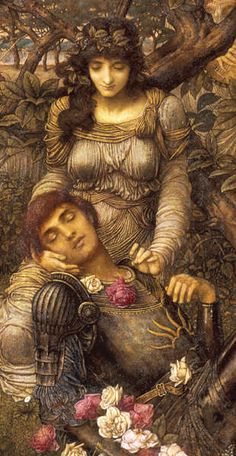"""""""Acrasia,"""" 1888 ~ by John Melhuish Strudwick (English, 1849-1937); Peter Nahum At The Leicester Galleries [2nd of two pins]"""
