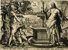Adán y Eva comparecen ante Cristo, Nuevo Adán, fuente de Vida, Gracia y regeneración.