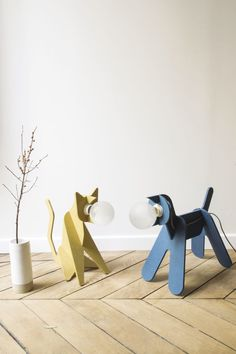 Lámpara portátil / de diseño original / de interior / MDF - GET OUT CAT & DOG ! by Clotilde & Julien - ENO STUDIO