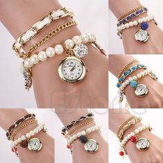 Women Anchor Leather Faux Pearl Band Analog Quartz Bracelet Vintage Wrist Watch #Unbranded #Fashion
