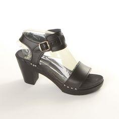 Cleopatra Sandal Clog - Black Leather - 3 High Heel Wooden Clog - New Style # 125-83
