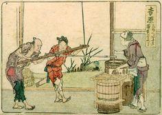 東海道五十三次 吉原 絵 師:葛飾北斎 刊行年:文化元年(1804) この宿駅の西方にある本市場で商った白酒が名物で、図はその製造の状況を描く。古く『東海道巡覧記』のこの本市場に「上り下り立場也。ふしの白酒屋あり」と述べ、後代の『諸国道中旅篭』(弘化五年)には「元市場、名物山川酒、ひごずいき」とある。山川酒は山川白酒ともいはれ、広重の江崎屋版「東海道五十三次之内」(俗称「行書東海道」)の「吉原」に「名物山川しろ酒」の看板を出した茶店を描いた作もある。当北斎の作品の初摺品の狂歌は「白酒をひさしくわたりは春めきて 霞か引けはうたふ鳥」とある。(図E1E2)ふじの白酒については、なお製造図を女性見立てで描いた歌川豊国の三枚続錦絵作品(図E3)がある(当作は吉原とは特定しておらず、江戸の豊島屋も考えられるが、一応参考に掲出)。