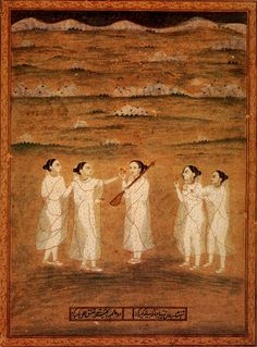 "Yoginis in a landscape. Painted under the direction of Jahangir by Khesu Kurd. Imperial Mughal, c. 1625-50.  ""Court Paintings of India"" by Pratapaditya Pal."