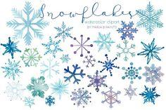 Watercolor Clip Art - Snowflakes