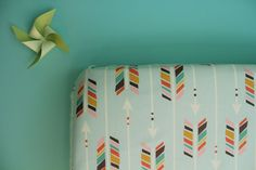 fitted crib sheet in colorful arrows on mint large by iviebaby, $55.00