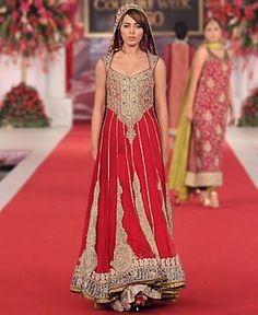 Red Bridal Collection by Pakistani Designer Mehdi at Bridal Couture Week 2013 Burton upon Trent UK