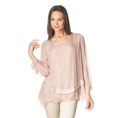 Pink asymmetric silk blouse