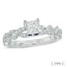 Vera Wang LOVE Collection 3/4 CT. T.W. Princess-Cut Diamond Cascading Shank Engagement Ring in 14K White Gold