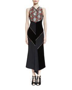 B3DNV Roland Mouret Sleeveless Floral-Embroidered Midi Dress, Black