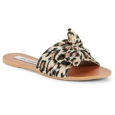 Steve Madden Slip-On Flat Sandals ($44) ❤ liked on Polyvore featuring shoes, sandals, leopard, bow sandals, leopard sandals, slip on sandals, embellished flat sandals and leopard print flat shoes
