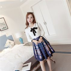 autumn sweater   print dress 2pcs set