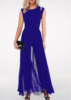Royal Blue High Waist Round Neck Jumpsuit | liligal.com - USD $33.53