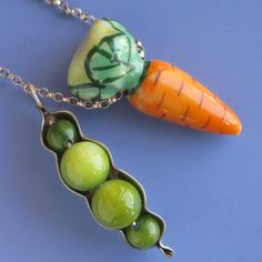 SALE Peas and Carrots Necklace by sudlow on Etsy, $39.00