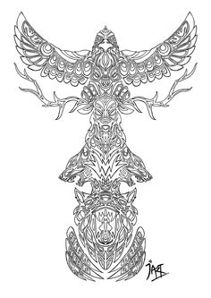 Animal Spirits-My Totem Pole by Wylethorn.deviantart.com on @deviantART