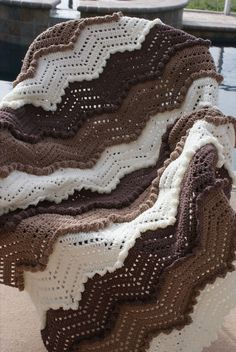 Taupe Brown White Ripple Waves Crochet Afghan -