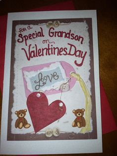 Valentines Day Grandson Card  buttons and hearts