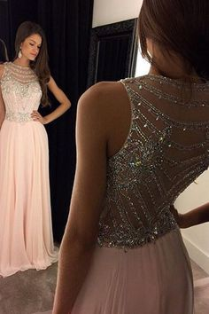 Shining A-line Zipper Up at Side Natural Floor-length Prom Dresses - by OKDress UK
