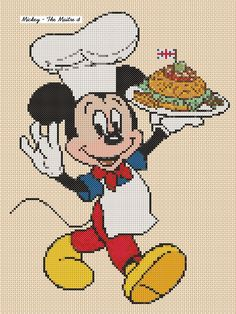 "Cross Stitch Chart MICKEY MOUSE ""Matre D"" - No. 18vc-12 (Large Print) #FlowerPower37uk #Frame"