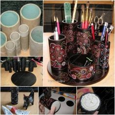 how to make a magical desk organizer from paper roll tutorial, instruction.  Follow us: http://on.fb.me/1rWIbQo