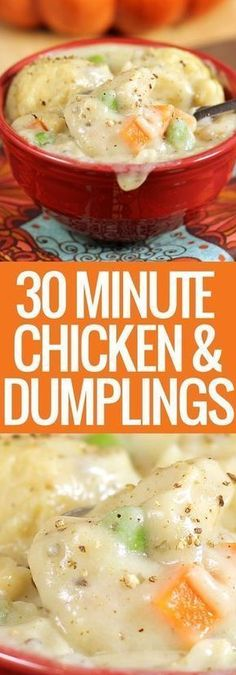 30-MINUTE CHICKEN AND DUMPLINGS   Good Recipes Soup Recipes, Chicken Recipes, Dinner Recipes, Cooking Recipes, Easy Recipes, Quiche Recipes, Recipe Chicken, Lemon Chicken, Family Recipes