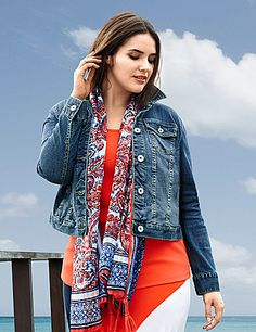 Our denim jacket takes you anywhere in an ultra-versatile medium wash with the classic details and curve-flattering fit you love. Buttoned cuffs can be worn long or rolled, with flapped chest pockets and a button-front closure. <br /> <br />Make your getaway with the Escape Collection, resort wear made for your jet-setting lifestyle. Pack your bag with these travel-friendly, easy-wearing pieces you will love at home or away.<br /> lanebryant.com