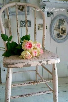 Chippy painted chair and roses.
