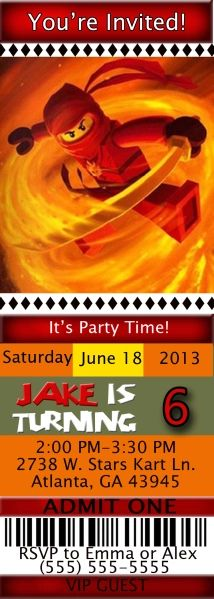 Ninjago Birthday Ticket Style Invitations | Kustom Kreations Lego Birthday Invitations, Youre Invited, Kustom, Ticket, Party Time, Style, Swag, Outfits