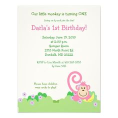 Pink Silly Monkey Jungle 4x5 Girl Birthday Custom Invitations