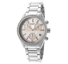 Rotary Women's Chronograph Austrian Crystal White MOP Dial Stainless Steel ROTARY-LB00025-41 Watch