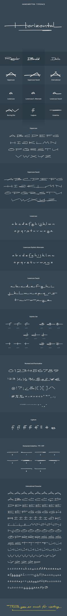 Horizontal Font - #Hand-writing #Script