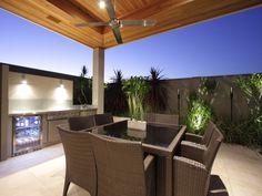 Indoor-outdoor outdoor living design with bbq area & decorative lighting… Outside Living, Outdoor Living Areas, Outdoor Rooms, Indoor Outdoor, Outdoor Furniture Sets, Outdoor Decor, Outdoor Kitchens, Pergola Patio, Outdoor Landscaping