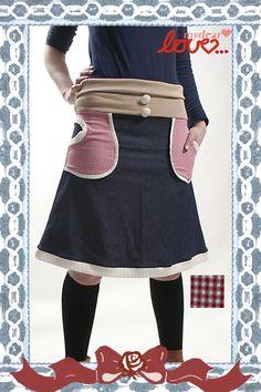 "Jeans-Rock ""Grete"",Pepita-Rot, Beige von mydearlove® - shop auf DaWanda.com"