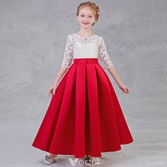 Chic / Beautiful Red Flower Girl Dresses 2018 A-Line / Princess Scoop Neck Sleeves Rhinestone Appliques Lace Pierced Floor-Length / Long Ruffle Wedding Party Dresses Girls Party Dress, Wedding Party Dresses, Prom Dresses, Summer Dresses, Red Flower Girl Dresses, Satin Flowers, Red Satin, Lace Bodice, Lace Tops