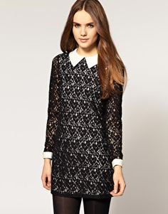 River Island Lace Shift Dress With Collar Detail  $81.81