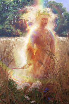 "megarah-moon: """"Lady Midday"" by Sergey Demidov "" Sacred Feminine, Divine Feminine, Rennaissance Art, Visionary Art, Gods And Goddesses, Deities, Folklore, Fantasy Art, Art Drawings"