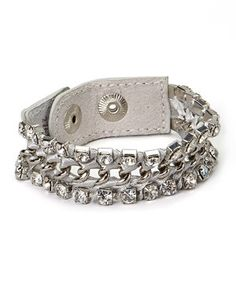 c184e58793cc I Love Accessories Silvertone Rhinestone Chain-Link Leather Bracelet