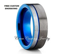 Tungsten Wedding Band,Tungsten Wedding Ring,Tungsten Carbide,Gunmetal Tungsten…