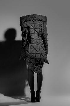 Geometric quilted overcoat