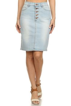 Bella Light Wash Denim Skirt | Sizes : S-L| Price $ 25.00|Order at www.jupedeabby.com