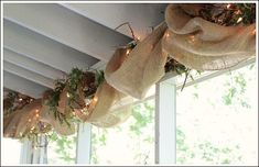 Burlap ribbon ideas for your outdoor decorating ideas. This ribbon is inexpensive, versatile, and beautiful!